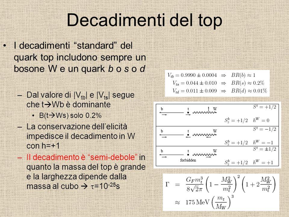Decadimenti del top I decadimenti standard del quark top includono sempre un bosone W e un quark b o s o d.