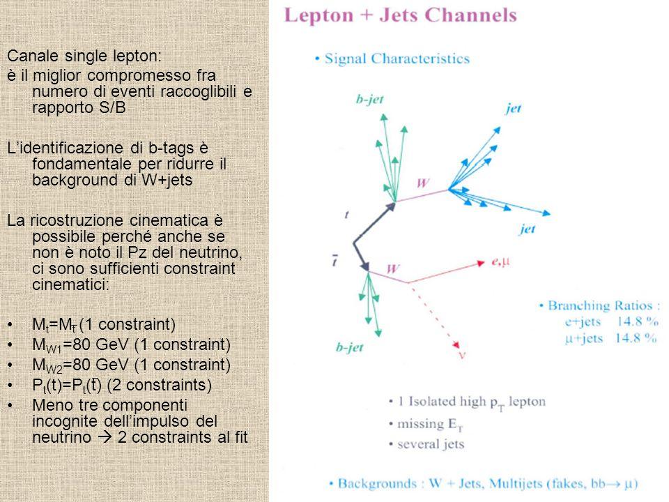 Canale single lepton: è il miglior compromesso fra numero di eventi raccoglibili e rapporto S/B.