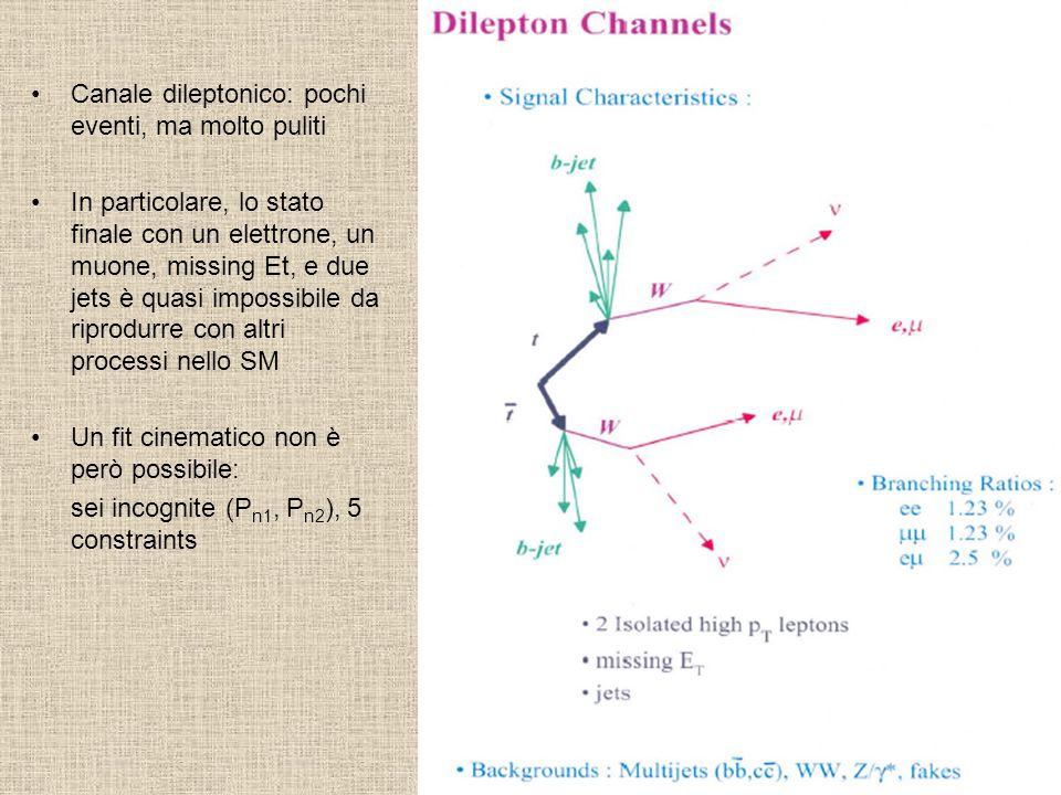 Canale dileptonico: pochi eventi, ma molto puliti