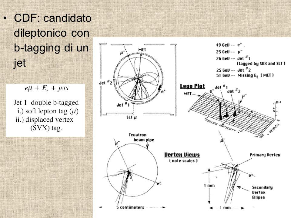 CDF: candidato dileptonico con b-tagging di un jet