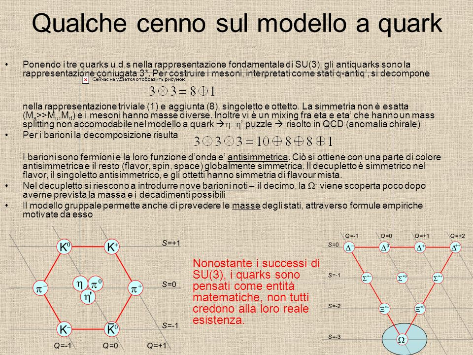 Qualche cenno sul modello a quark