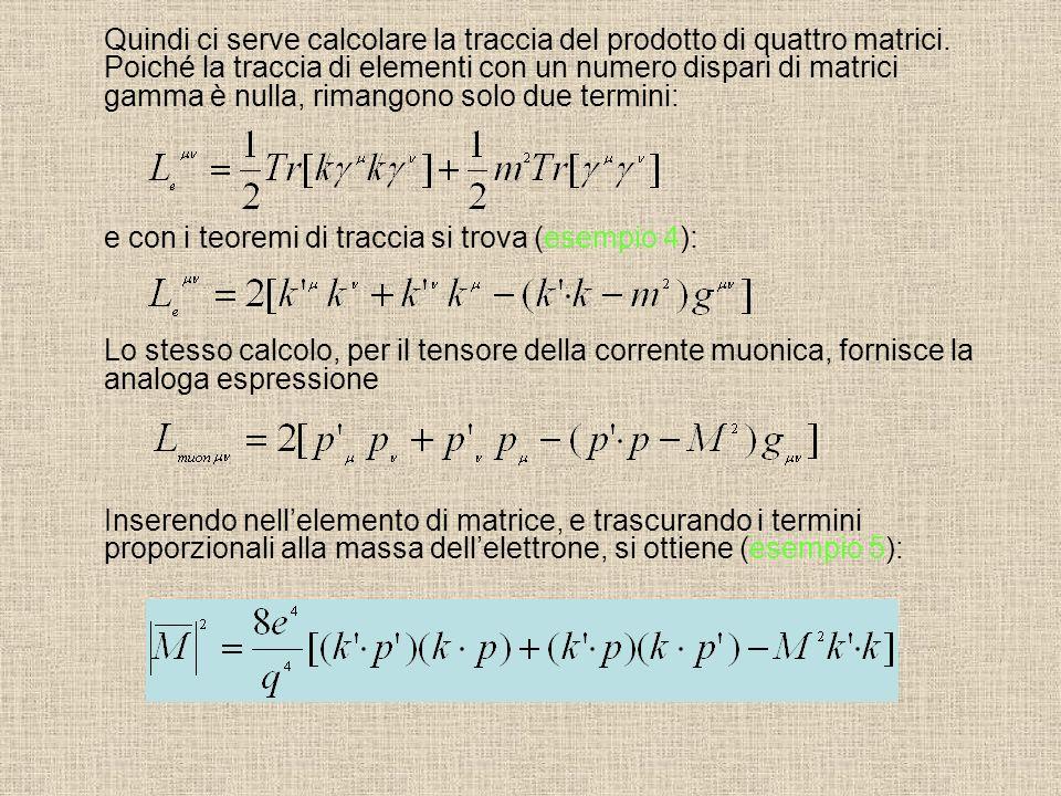 Quindi ci serve calcolare la traccia del prodotto di quattro matrici