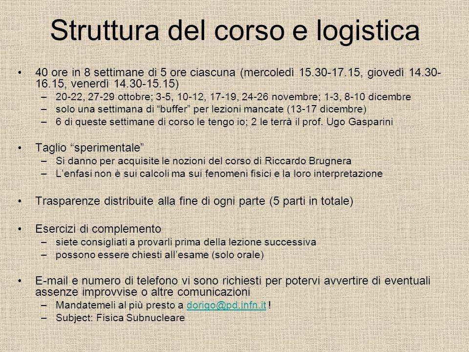 Struttura del corso e logistica