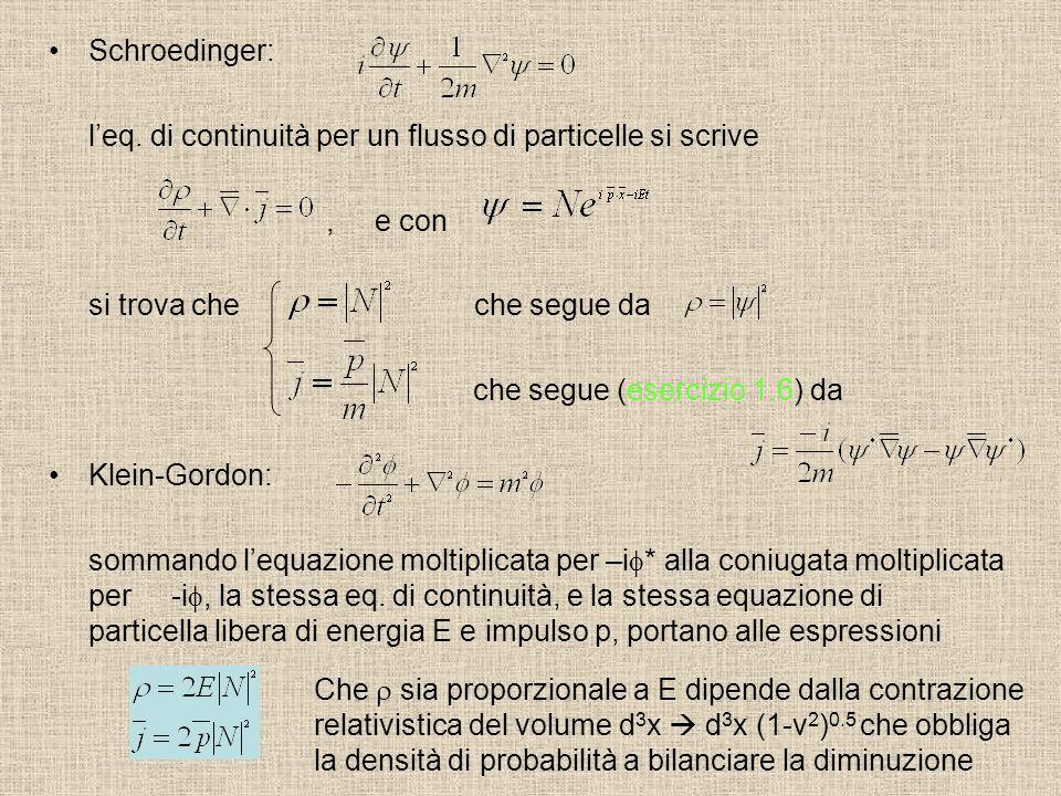 Schroedinger: l'eq. di continuità per un flusso di particelle si scrive. , e con. si trova che che segue da.