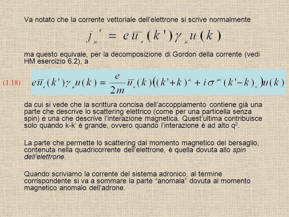 Va notato che la corrente vettoriale dell'elettrone si scrive normalmente