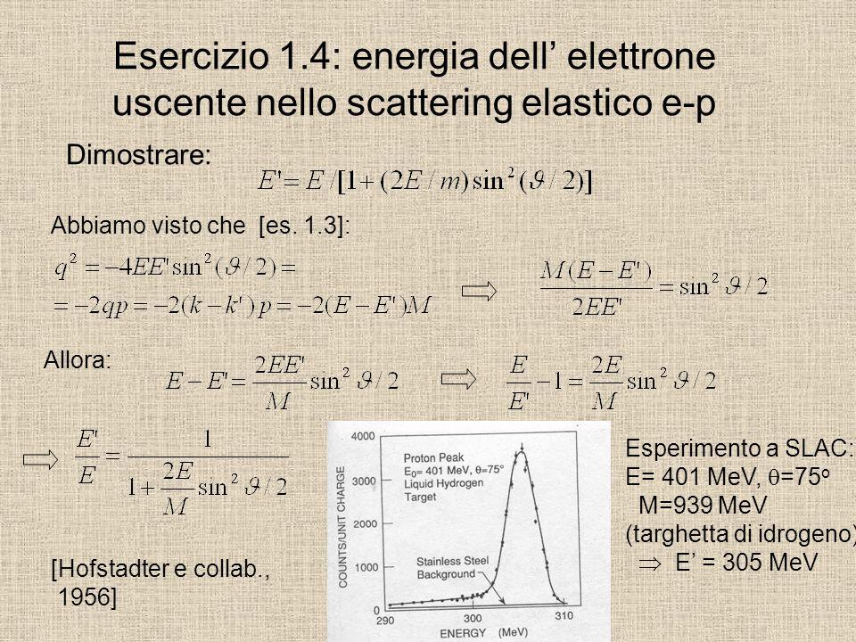 Esercizio 1.4: energia dell' elettrone uscente nello scattering elastico e-p