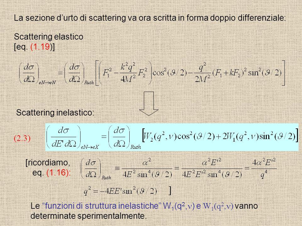 La sezione d'urto di scattering va ora scritta in forma doppio differenziale: