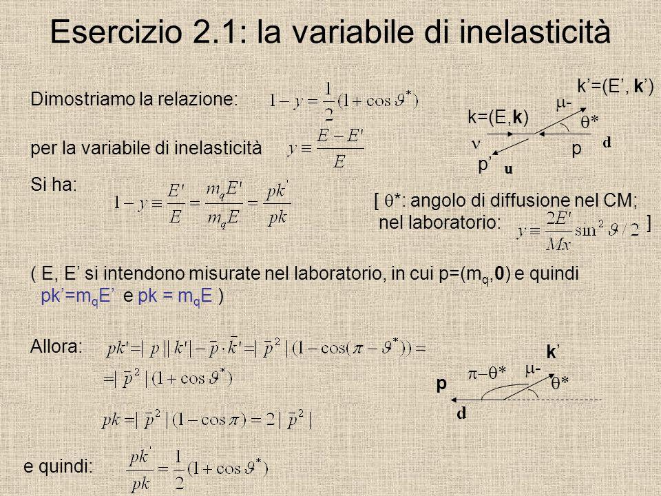 Esercizio 2.1: la variabile di inelasticità