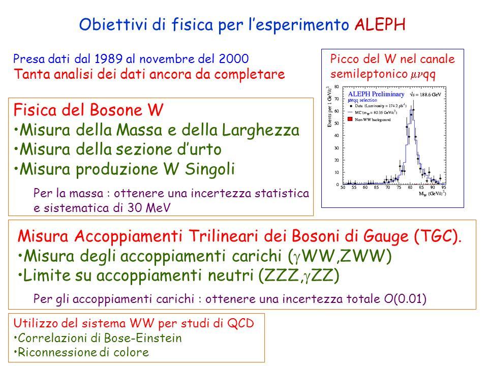 Obiettivi di fisica per l'esperimento ALEPH