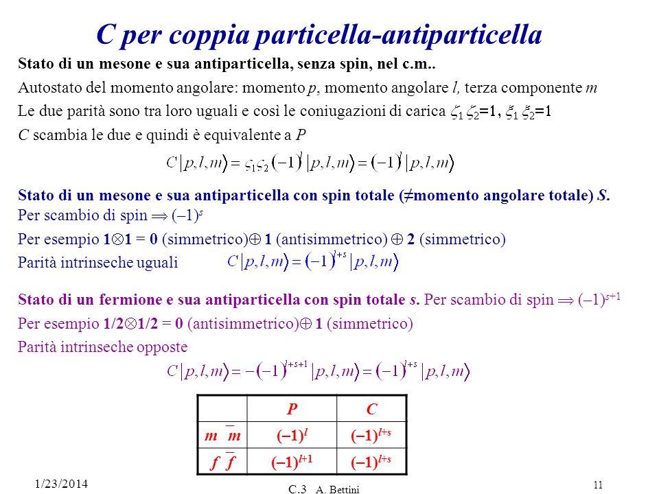 C per coppia particella-antiparticella