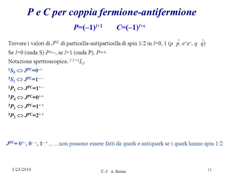 P e C per coppia fermione-antifermione