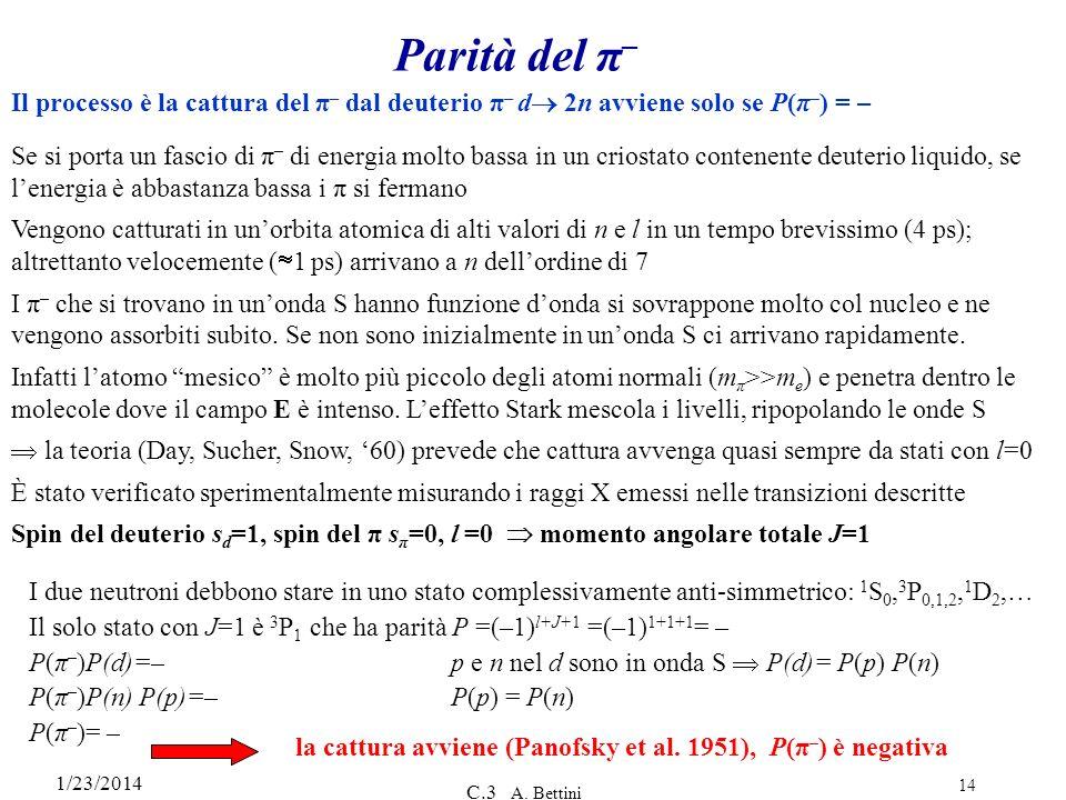Parità del π– Il processo è la cattura del π– dal deuterio π– d 2n avviene solo se P(π–) = –