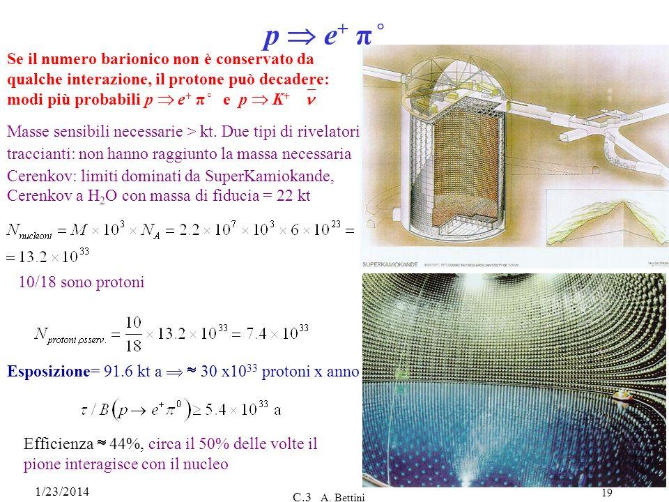 p  e+ π˚ Se il numero barionico non è conservato da qualche interazione, il protone può decadere: modi più probabili p  e+ π˚ e p  K+ ≠n.