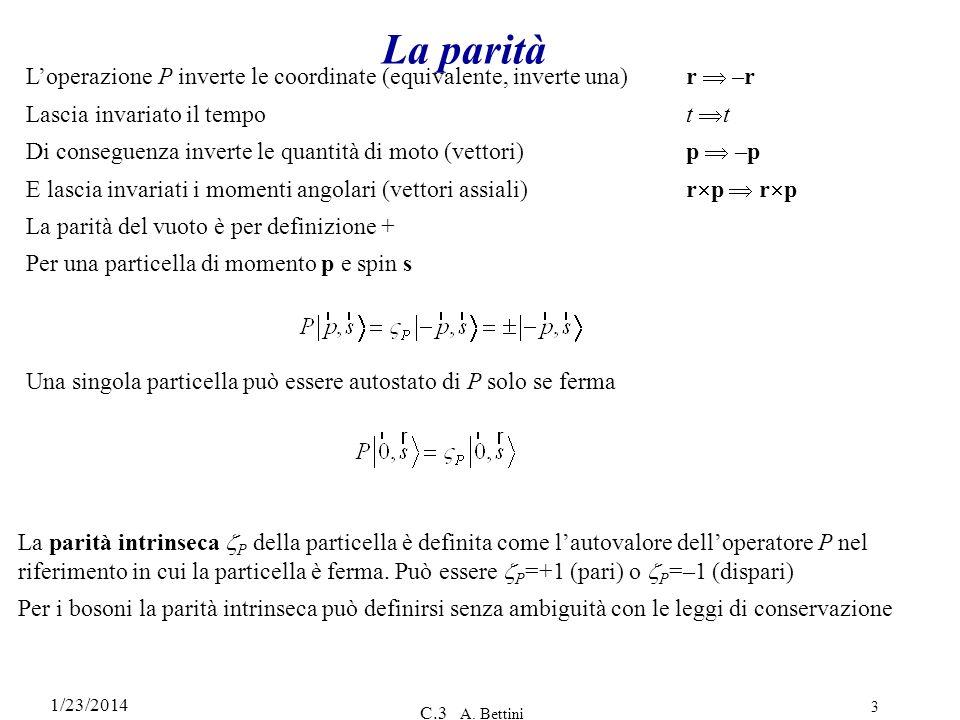 La parità L'operazione P inverte le coordinate (equivalente, inverte una) r  –r. Lascia invariato il tempo t t.