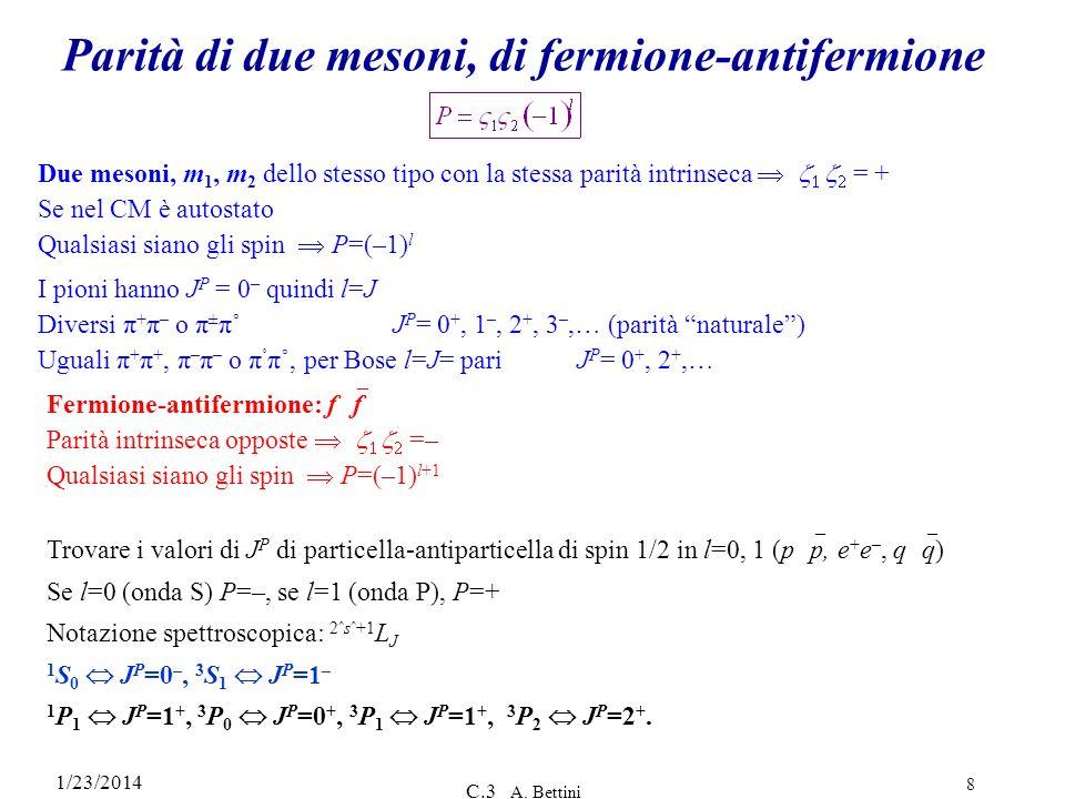 Parità di due mesoni, di fermione-antifermione