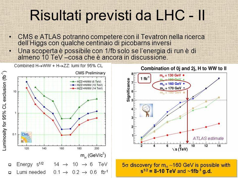 Risultati previsti da LHC - II