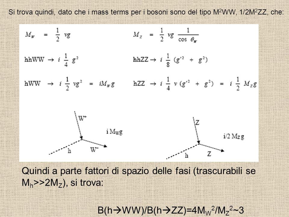 B(hWW)/B(hZZ)=4MW2/MZ2~3