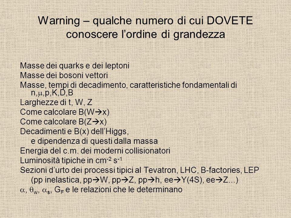 Warning – qualche numero di cui DOVETE conoscere l'ordine di grandezza