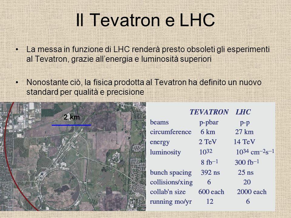 Il Tevatron e LHC La messa in funzione di LHC renderà presto obsoleti gli esperimenti al Tevatron, grazie all'energia e luminosità superiori.