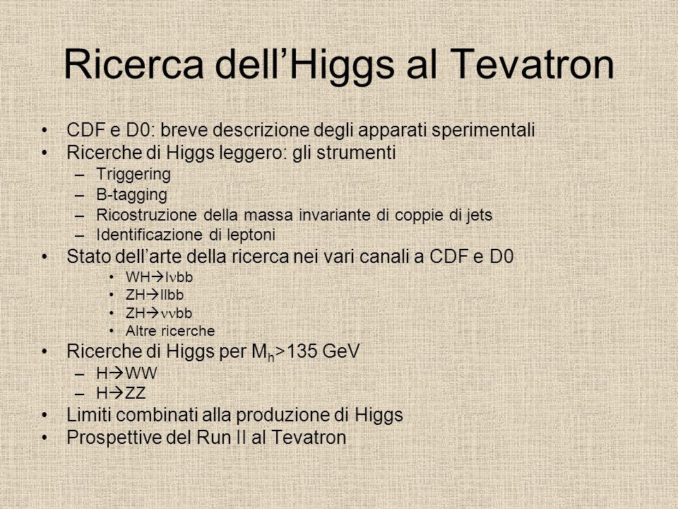 Ricerca dell'Higgs al Tevatron