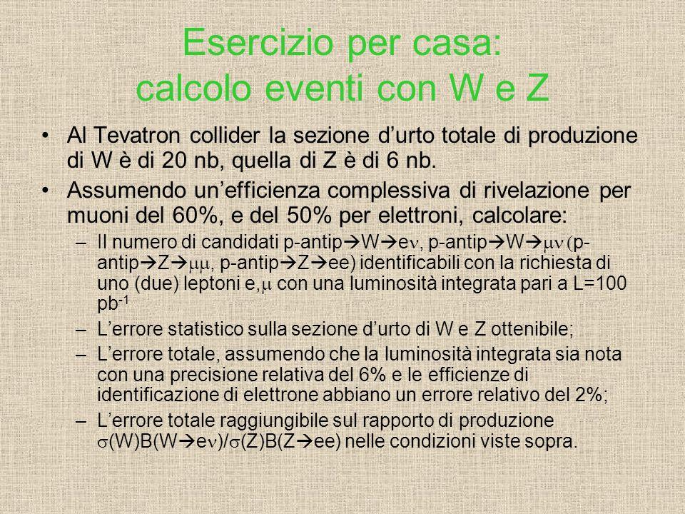 Esercizio per casa: calcolo eventi con W e Z