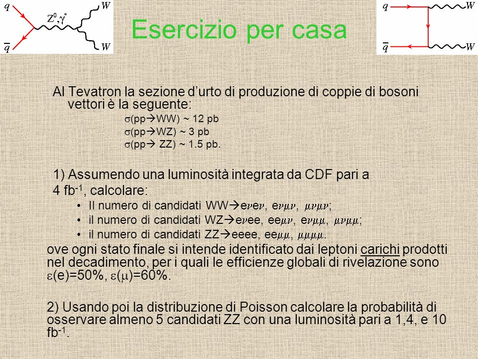 Esercizio per casa Al Tevatron la sezione d'urto di produzione di coppie di bosoni vettori è la seguente: