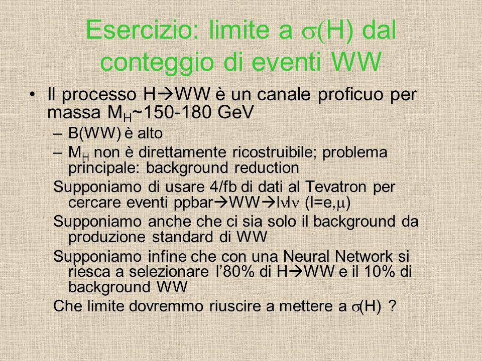 Esercizio: limite a s(H) dal conteggio di eventi WW