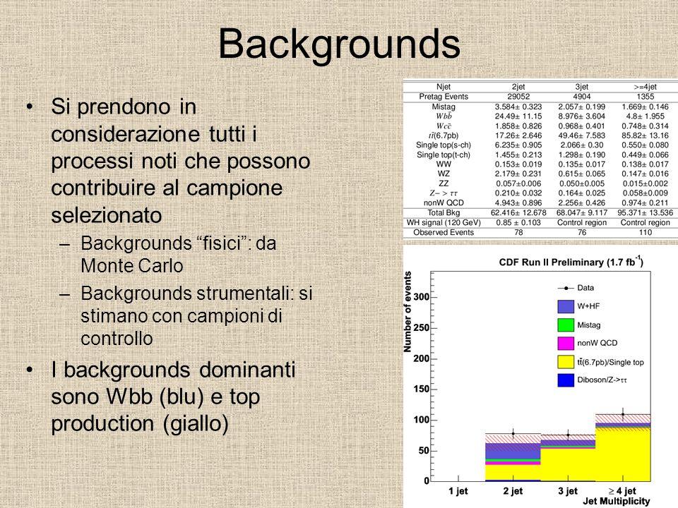 Backgrounds Si prendono in considerazione tutti i processi noti che possono contribuire al campione selezionato.