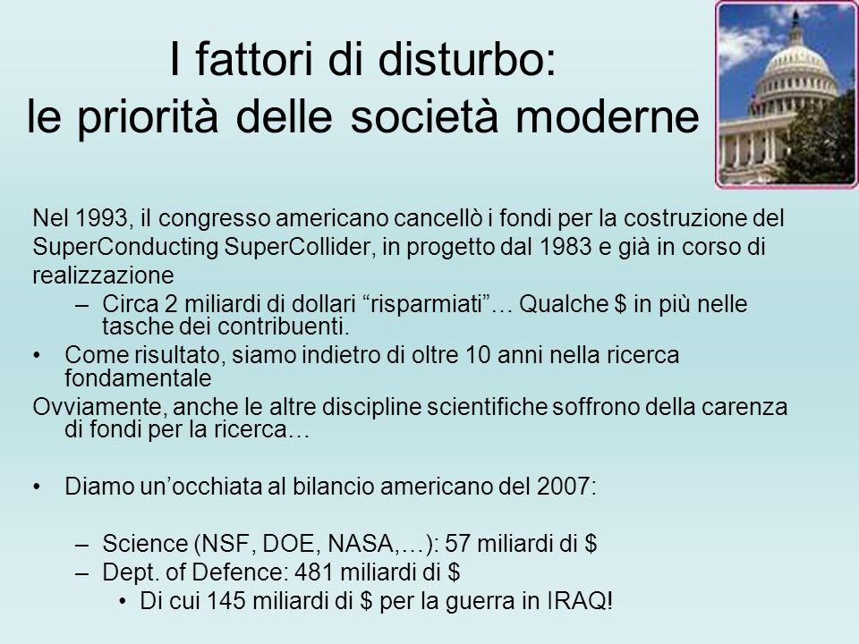 I fattori di disturbo: le priorità delle società moderne