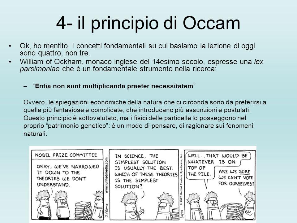 4- il principio di OccamOk, ho mentito. I concetti fondamentali su cui basiamo la lezione di oggi sono quattro, non tre.