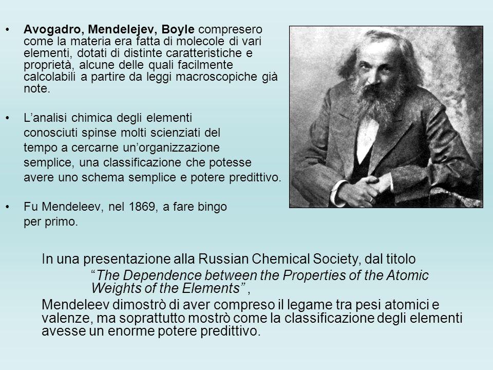 In una presentazione alla Russian Chemical Society, dal titolo