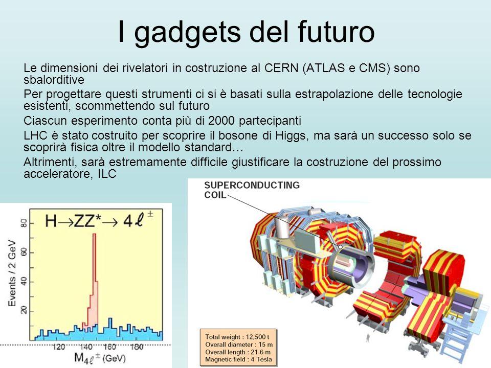 I gadgets del futuro Le dimensioni dei rivelatori in costruzione al CERN (ATLAS e CMS) sono sbalorditive.