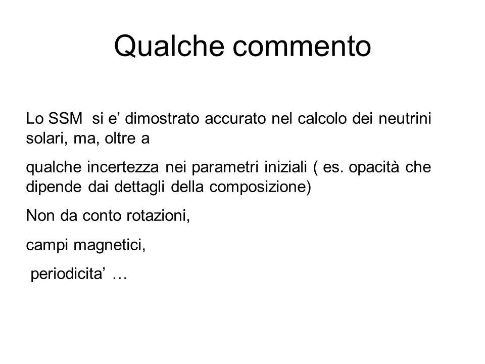 Qualche commento Lo SSM si e' dimostrato accurato nel calcolo dei neutrini solari, ma, oltre a.