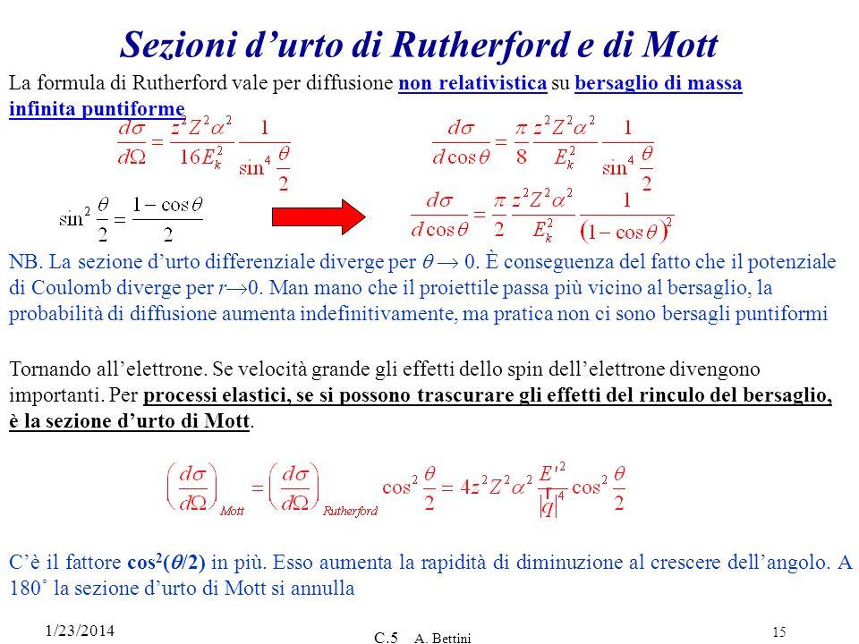 Sezioni d'urto di Rutherford e di Mott