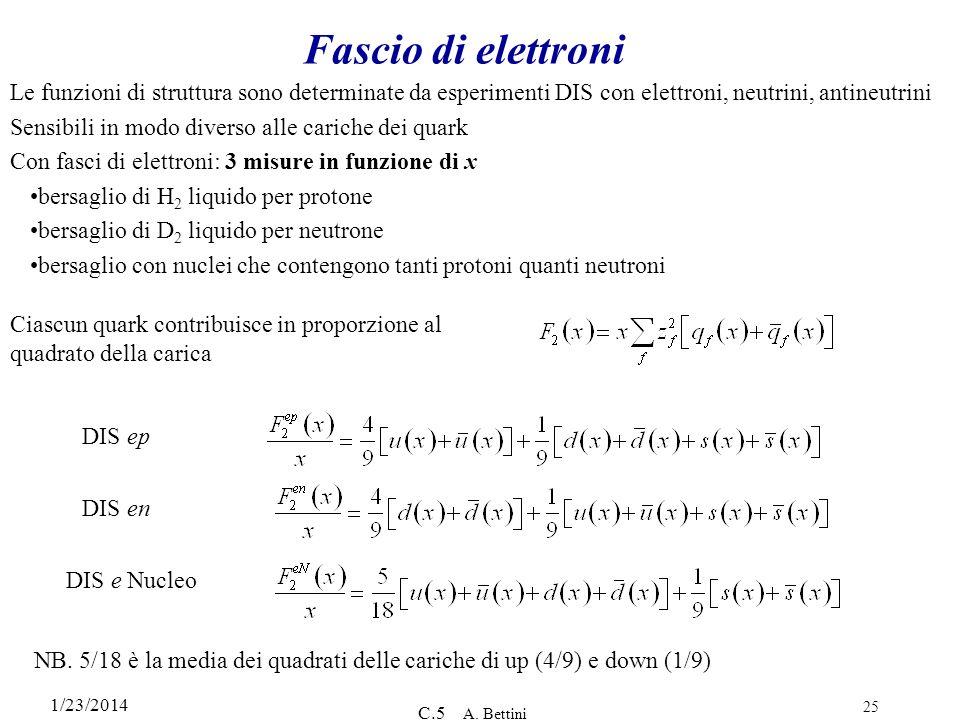 Fascio di elettroni Le funzioni di struttura sono determinate da esperimenti DIS con elettroni, neutrini, antineutrini.