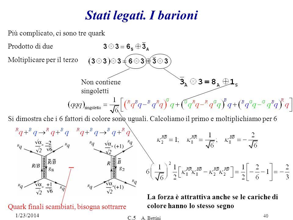 Stati legati. I barioni – Più complicato, ci sono tre quark