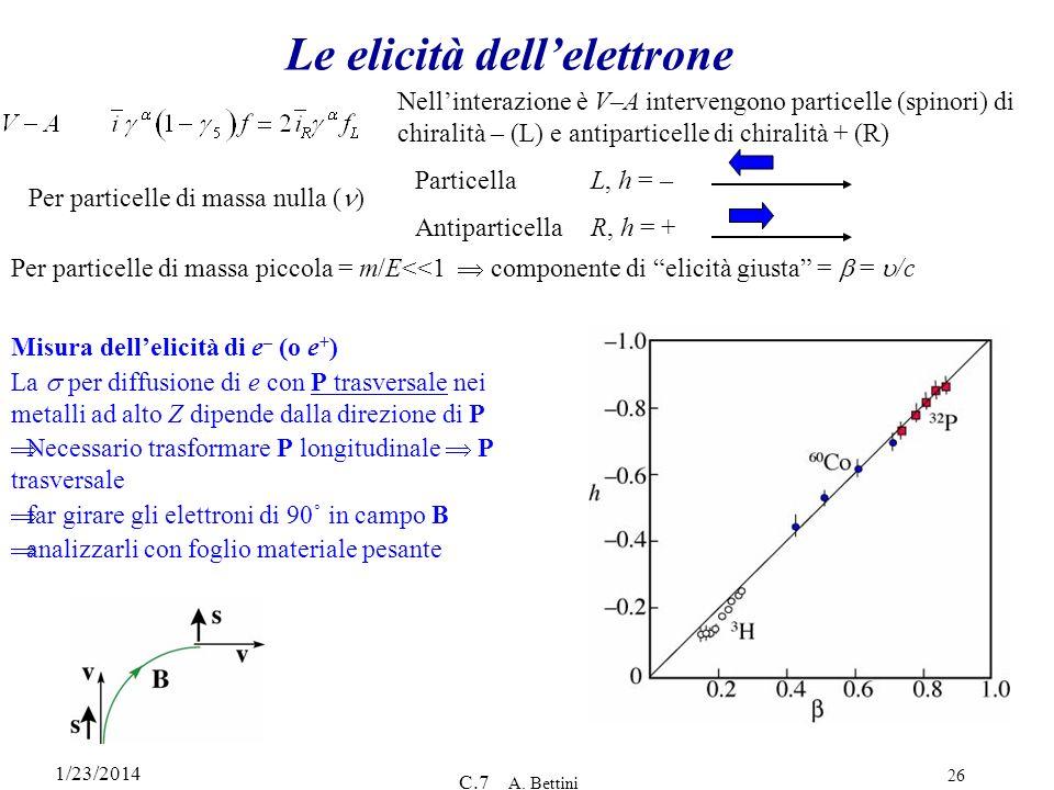 Le elicità dell'elettrone