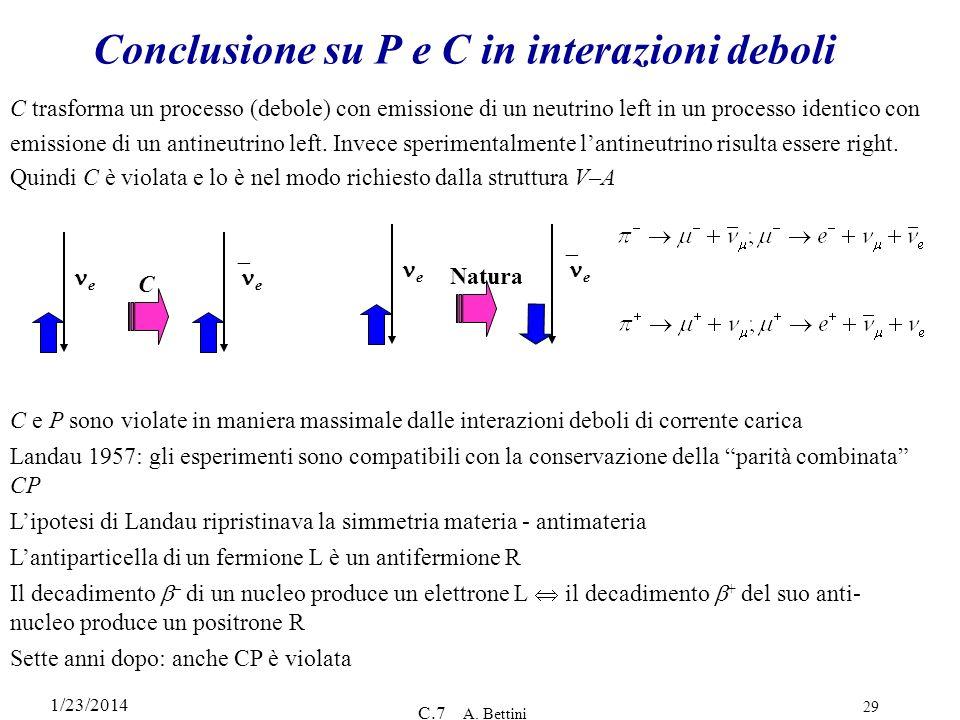 Conclusione su P e C in interazioni deboli