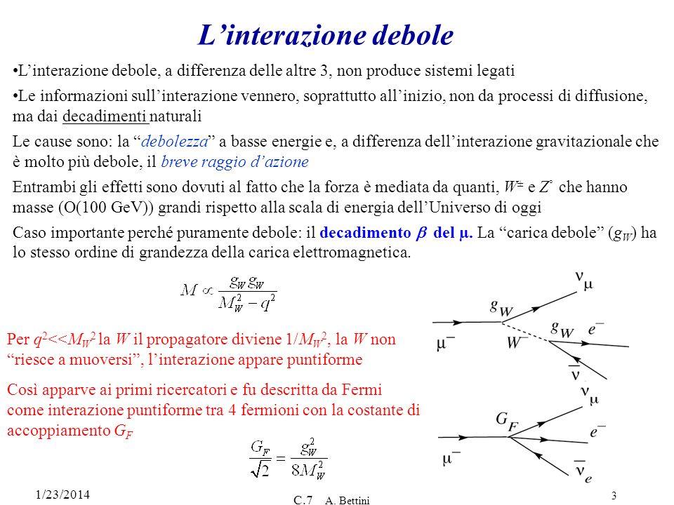 L'interazione debole L'interazione debole, a differenza delle altre 3, non produce sistemi legati.