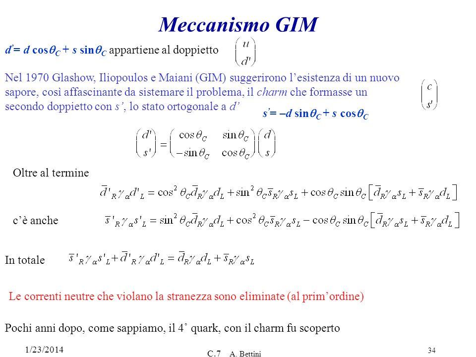 Meccanismo GIM d'= d cosqC + s sinqC appartiene al doppietto