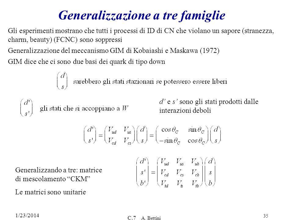 Generalizzazione a tre famiglie