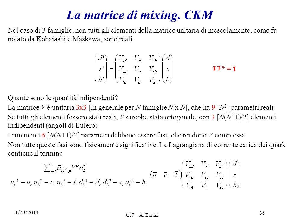 La matrice di mixing. CKM