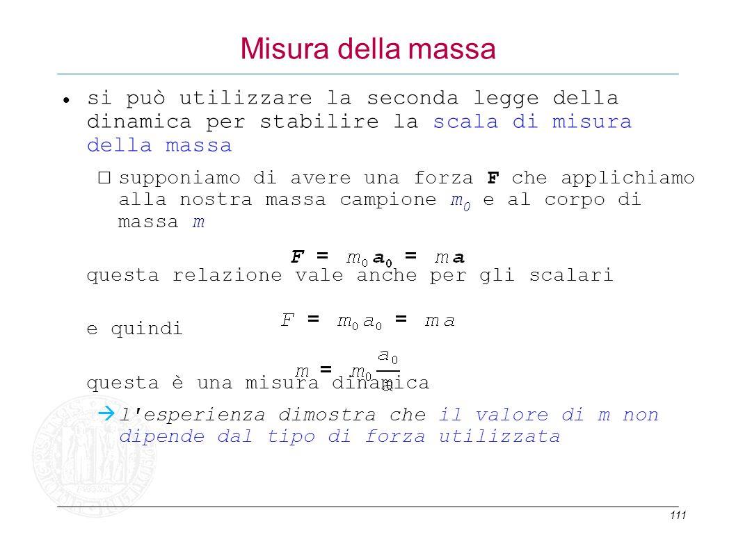 Misura della massa si può utilizzare la seconda legge della dinamica per stabilire la scala di misura della massa.