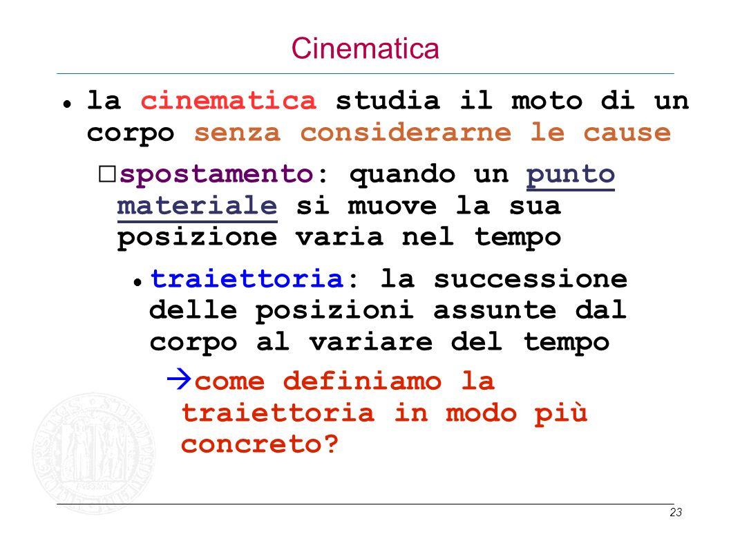 Cinematica la cinematica studia il moto di un corpo senza considerarne le cause.