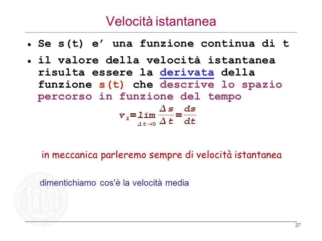 Velocità istantanea Se s(t) e' una funzione continua di t
