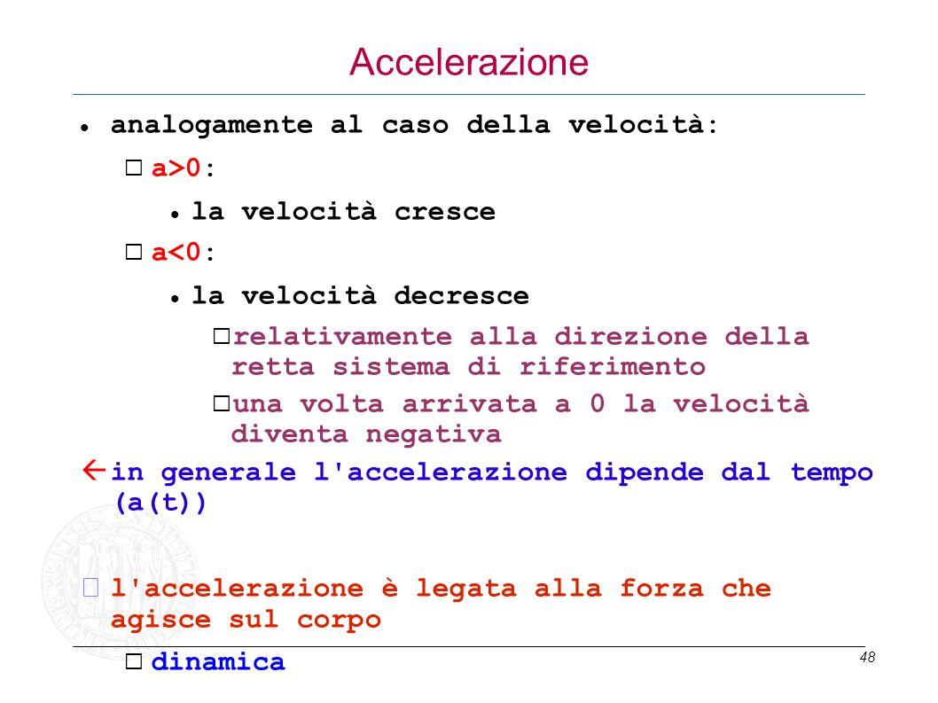 Accelerazione analogamente al caso della velocità: a>0: