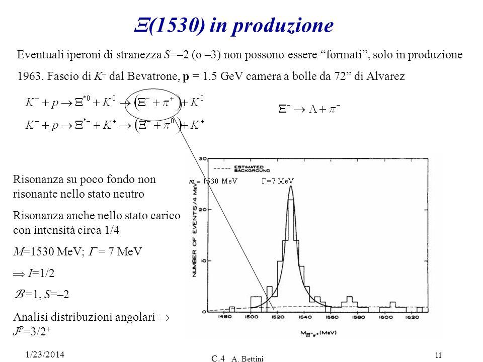 X(1530) in produzione Eventuali iperoni di stranezza S=–2 (o –3) non possono essere formati , solo in produzione.