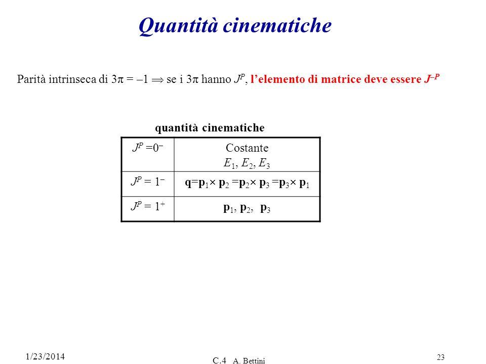 Quantità cinematiche Parità intrinseca di 3π = –1  se i 3π hanno JP, l'elemento di matrice deve essere J–P.