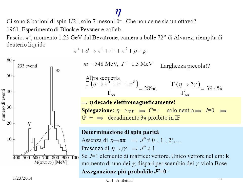 h Ci sono 8 barioni di spin 1/2+, solo 7 mesoni 0– . Che non ce ne sia un ottavo 1961. Esperimento di Block e Pevsner e collab.