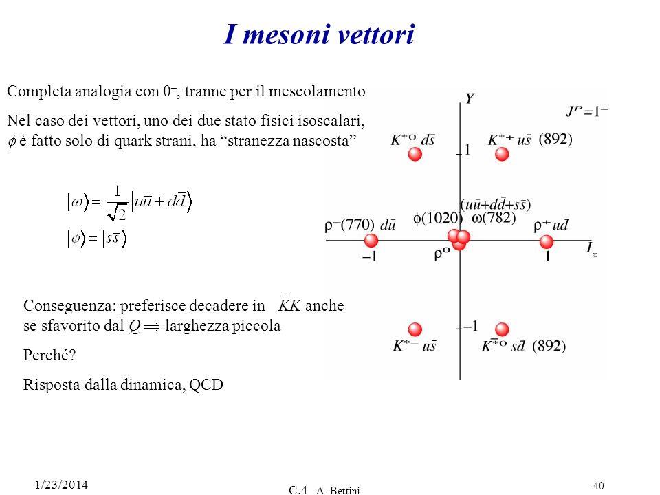 I mesoni vettori Completa analogia con 0–, tranne per il mescolamento